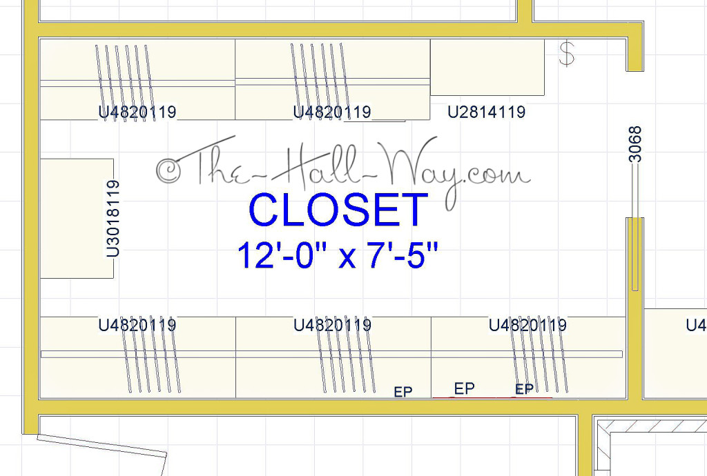Master closet part 1 the hall way for Master walk in closet dimensions